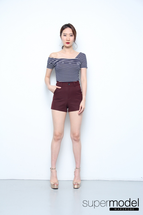 Edwina One-shoulder Striped T-shirt Top (Navy Blue)