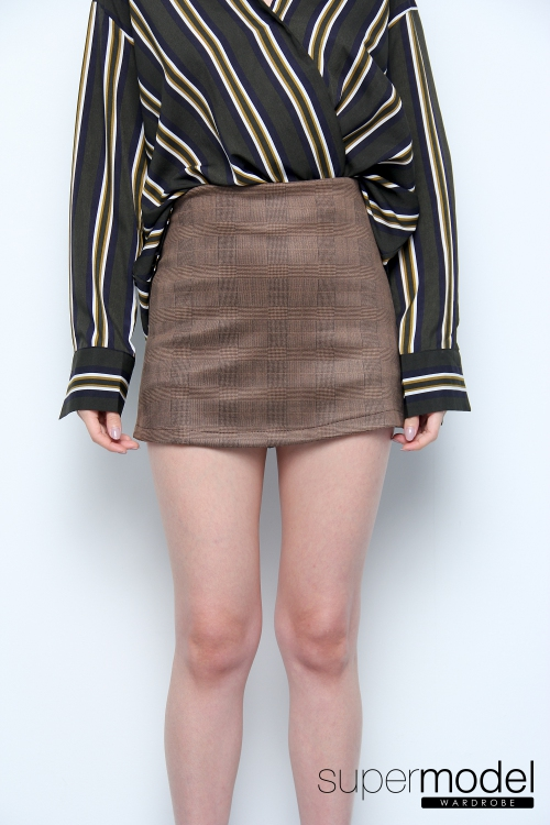 Laura Plaid Skort (Brown)