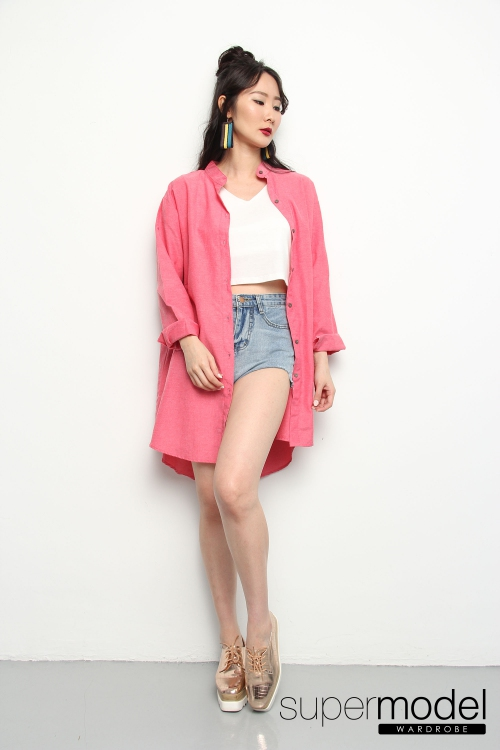 Giselle Oversized Top (Pink-red)