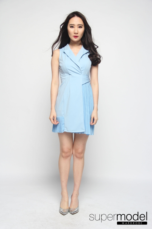 Novela Side Pleated Dress (Light Blue)