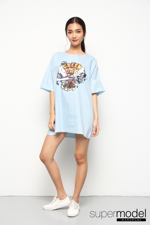 Macken Printed Denim Dress (Light Blue)