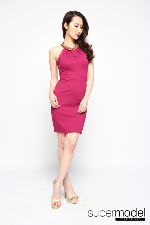 Emerlyn Halter Dress (Fuchsia)