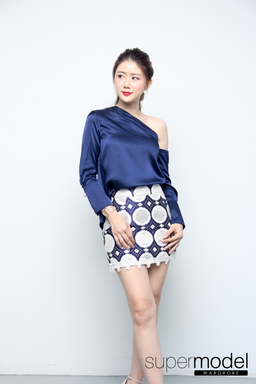 Fusion One Shoulder Top (Blue)