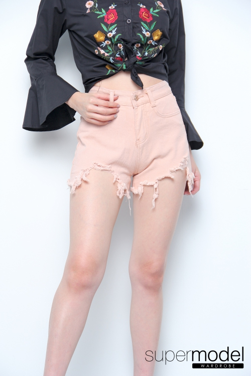 Nelly High Waisted Ripped Shorts (Pink)