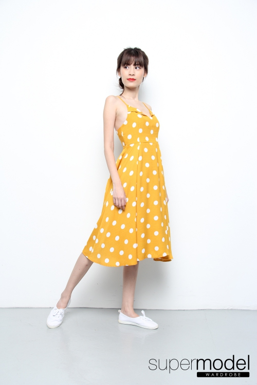 Xylia Polka Dot Midi Dress (Mustard)