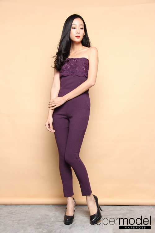 Whynter Tube Jumpsuit (Dark Purple)