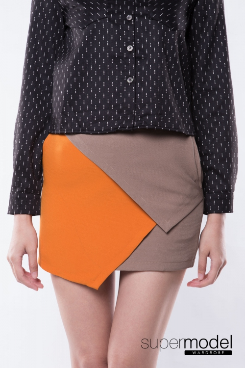 Sean Color Block Skort (Brown)