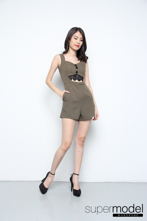 Nolene Lace Cut Out Romper (Army Green)