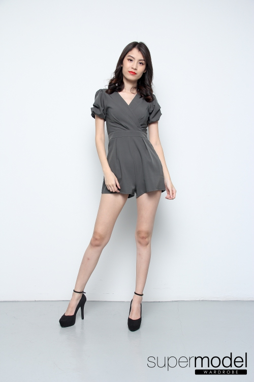Velda Short Sleeve V Neck Romper (Army Green)