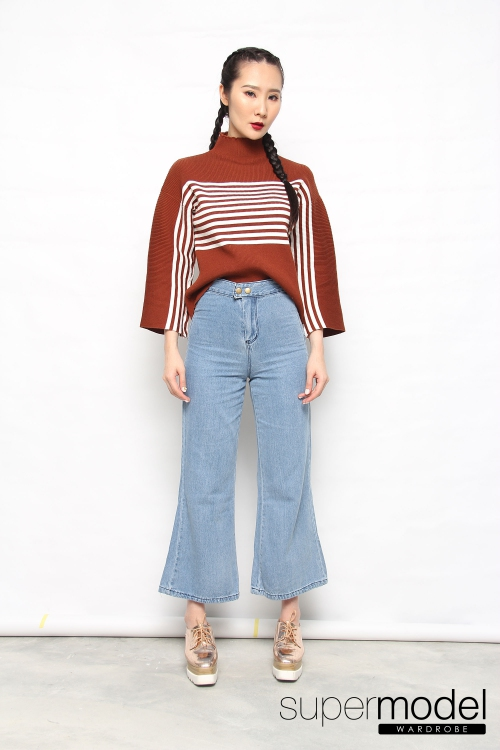 Collen Stripes Knitted Top (Brown)