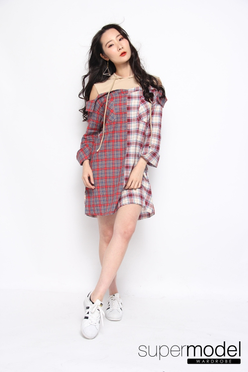 Tatiana Checkered Long Top/Dress  (Red)