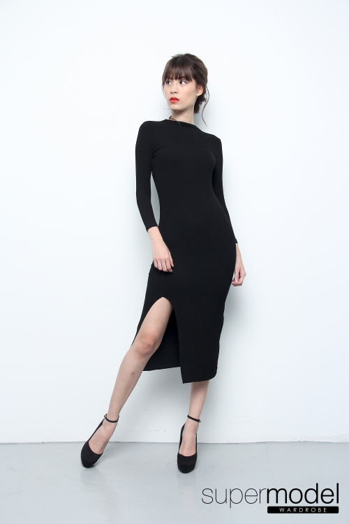Mango Slit Dress (Black)