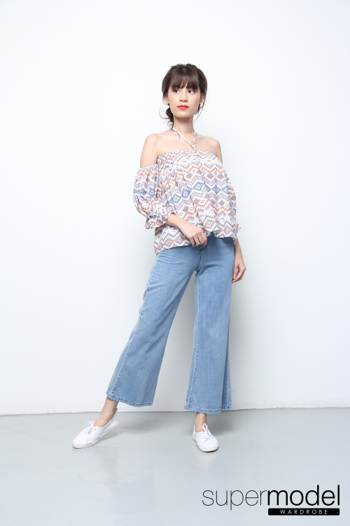 Klen Printed Off Shoulder Top (Blue)