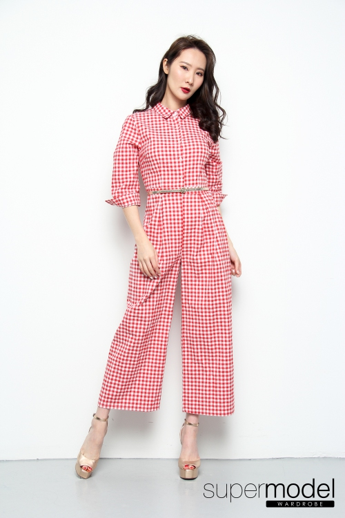 Mag Checkered Romper (Red)
