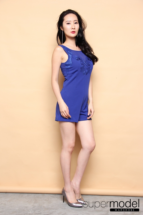 Matilda bodycon Romper (Blue)
