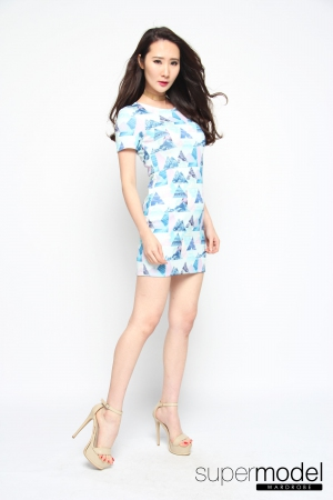Sugary Neoprene Dress (Light Blue)