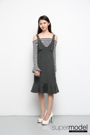 Naomi One Set Striped Top & Dress (Army Green)