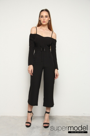 Rue Strappy Off Shoulder Playsuit (Black)