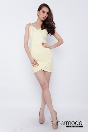 Aster Bodycon Dress (Light Yellow)