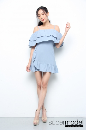 Bianca Spaghetti Strap Off Shoulder Romper (Light Blue)