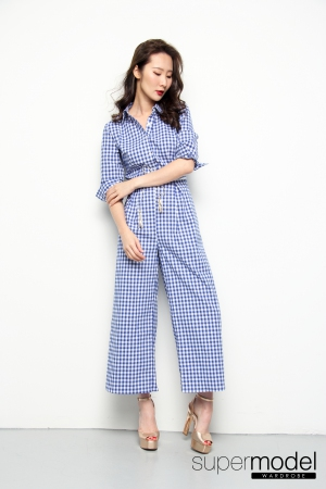 Mag Checkered Romper (Blue)