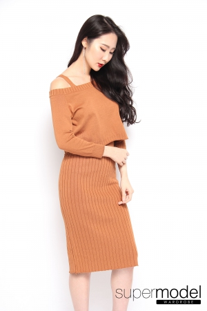 Benita Knitted Dress (Brown)