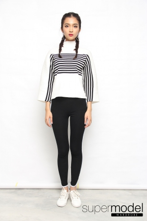 Collen Stripes Knitted Top (White)