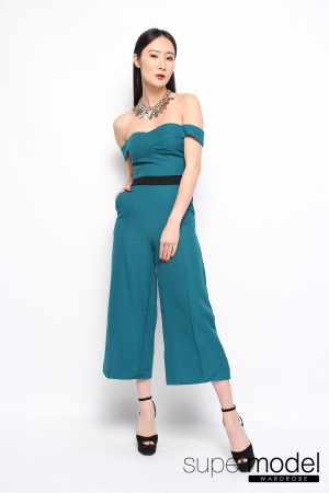 Maci Off Shoulder Jumpsuit (Turquoise)