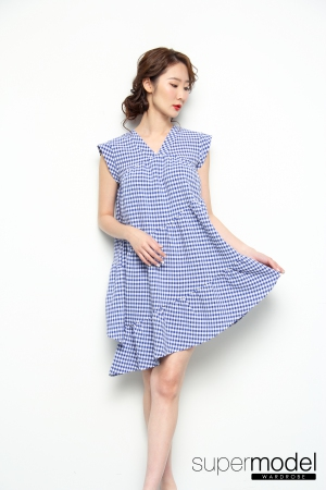 Penelope Checkered Dress (Blue)