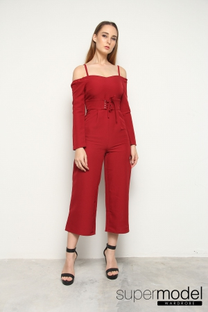 Rue Strappy Off Shoulder Playsuit (Red)
