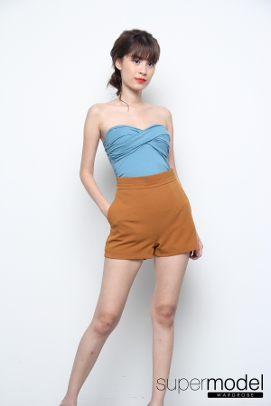 Tania Cotton Padded Tube Top (Blue)