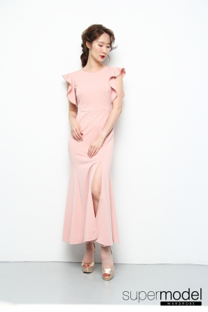 Fuer Ruffled Dress (Nude Pink)