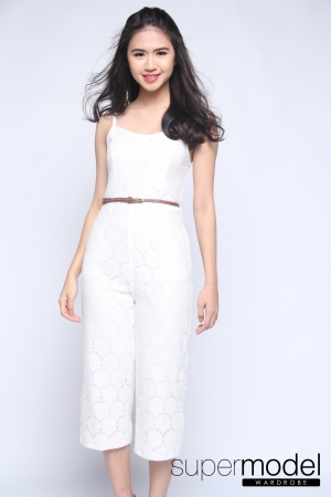 Koby Lace Jumpsuit (White)