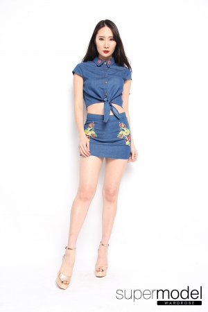 Jina Denim Set (Light Blue)