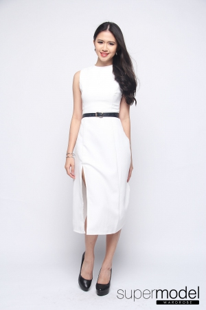 Heather Midi Dress (White)