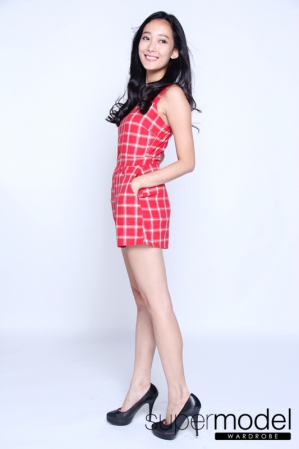 Kellie Checked Romper (Red)