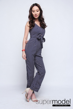 Doretta Dots Jumpsuit (Dark Blue)