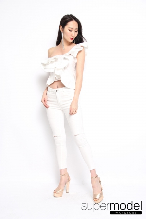 Christabel Ruffle Top (White)