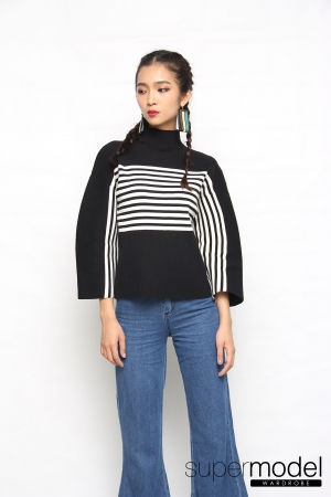 Collen Stripes Knitted Top (Black)