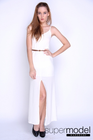 Maegen Chiffon Long Dress (Ivory White)