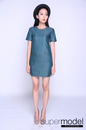 Jacky Denim Pocket Dress (Green)