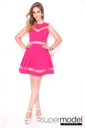 Neo Panel Flare Dress (Pink)
