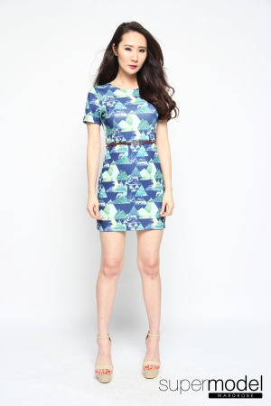 Sugary Neoprene Dress (Blue)