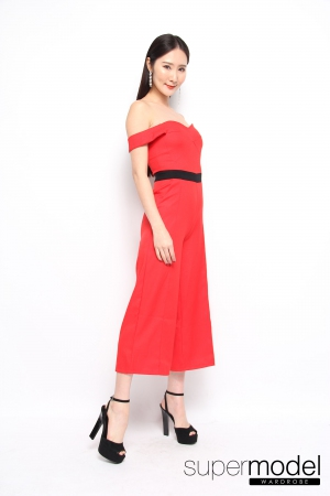 Maci Off Shoulder Jumpsuit (Red)
