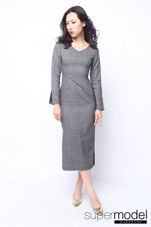 Harper Bodycon Midi Dress (Grey)