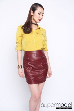 Quynn Leather Skirt (Maroon)