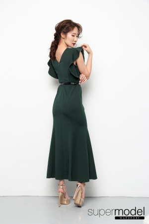 Fuer Ruffled Dress (Green)
