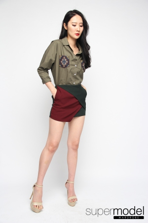 Zircon Tribal Pocket Top(Army Green)