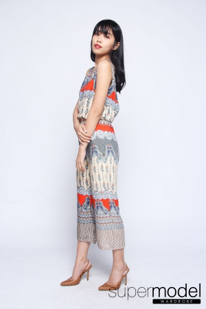 Hinata Batik Bareback Jumpsuit (Orange)