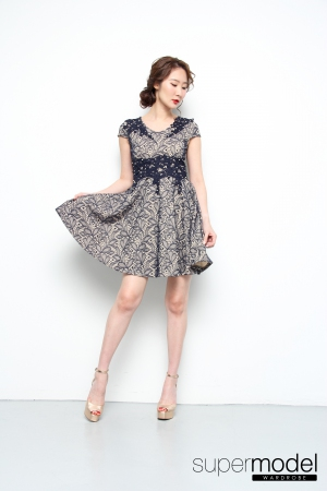 Natalie Lace Dress (Navy Blue)